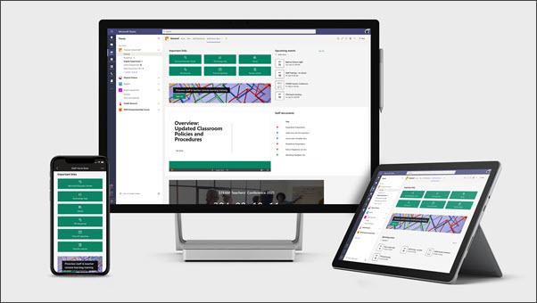 Exemplo de página inicial da equipe em vários dispositivos