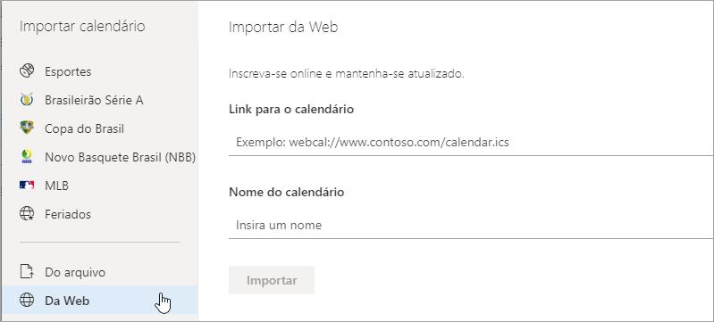 Uma captura de tela da importação de opção da web