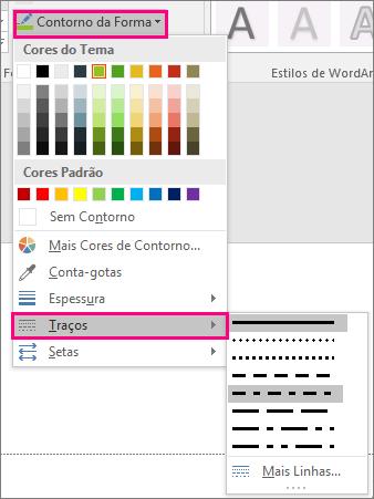 Mostra diferentes estilos de linha no Office