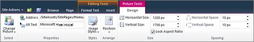 As ferramentas de imagem da guia permite que você definir o tamanho, estilo, posição e texto alt em imagens.