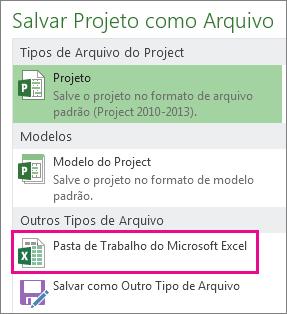 salvar arquivo do project como pasta de trabalho do microsoft excel