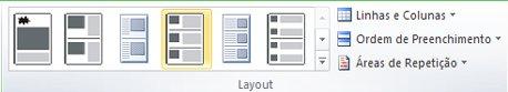 Opções de layout da mesclagem de catálogo