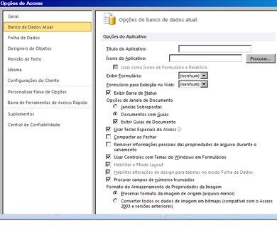 Caixa de diálogo de opções do Access com foco nas opções do banco de dados atual