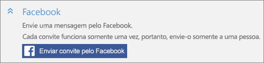 Captura de tela da seção Facebook da caixa de diálogo Adicionar alguém, com o botão Enviar convite pelo Facebook.