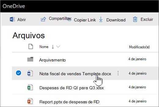 OneDrive com arquivo selecionado