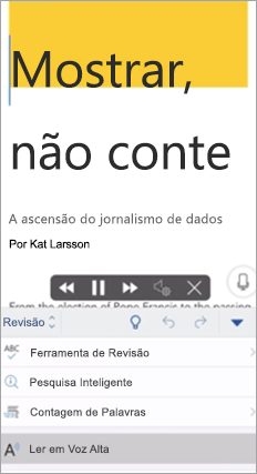 Mostra Ler em Voz Alta no aplicativo Word