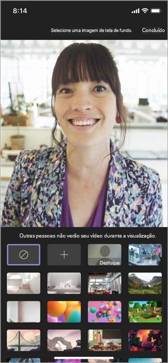As opções disponíveis para plano de fundo em vídeo móvel
