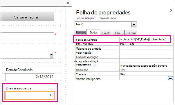 Inserindo a função DateDiff na propriedade fonte do controle de uma caixa de texto.