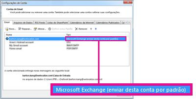 Conta do Microsoft Exchange exibida na caixa de diálogo Configurações de Conta