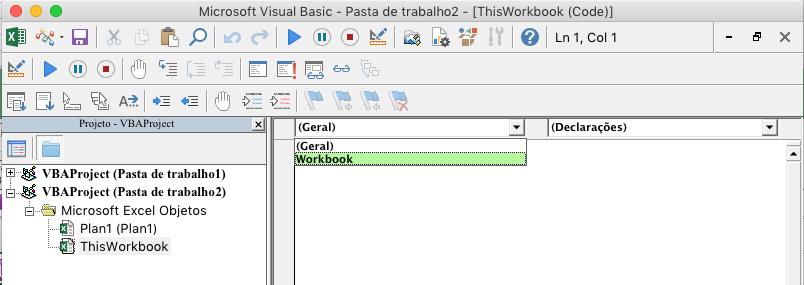 Editor do Visual Basic mostrando a lista suspensa de seleção de objetos