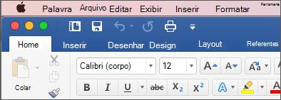 A faixa de opções no Word para Mac em tema colorido