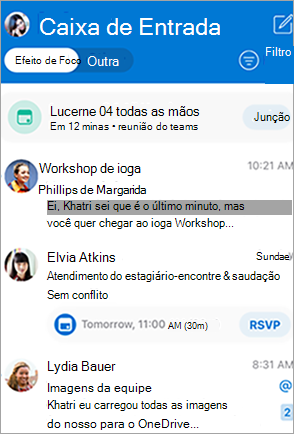 Caixa de entrada do Outlook no programa