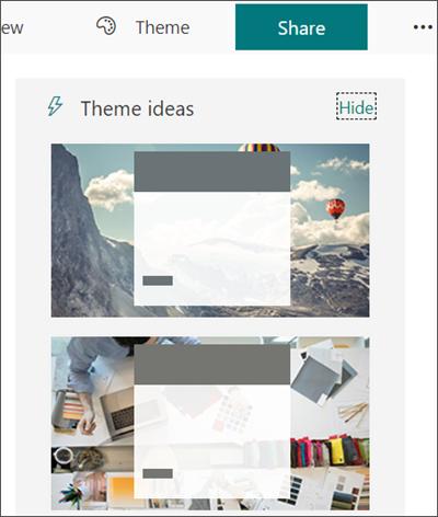 Clique em Tema para escolher um novo tema