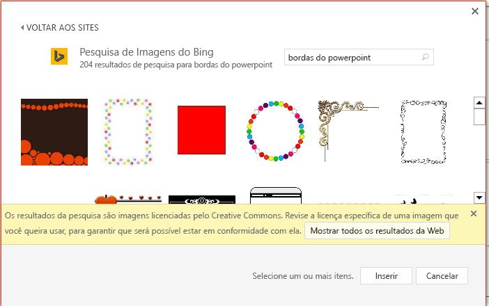 Resultados de uma pesquisa de bordas do PowerPoint no Bing.