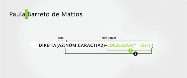 Fórmula para separar um nome e um sobrenome de três partes