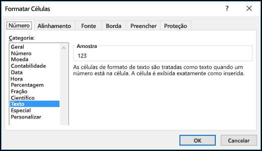 Caixa de diálogo Formatar Células exibindo a guia Número e a opção Texto selecionada