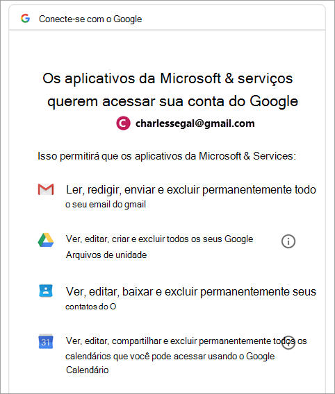 solicitar permissão do Google