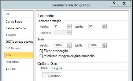 Guia Tamanho na Formatar área do gráfico
