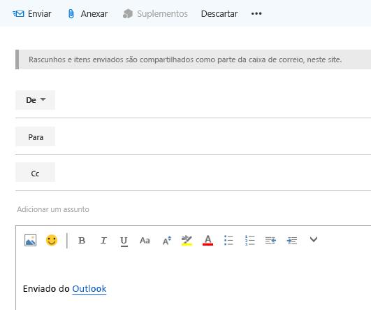 Adicione endereços a um email na caixa de correio do site