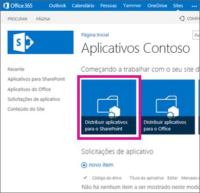 o bloco distribuir aplicativos para sharepoint em um site do catálogo de aplicativos