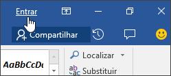 Captura de tela mostrando o link de entrada em um aplicativo da área de trabalho do Office