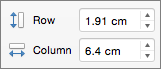 Altura e Largura de Linha e Coluna da Tabela no PowerPoint para Mac
