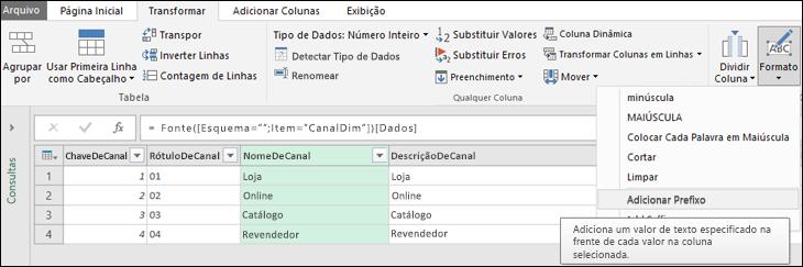 Power Query - Adicionar prefixo/sufixo a uma coluna de texto