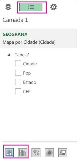 Ícones de gráfico de coluna empilhada e agrupadas na guia Lista de Campos