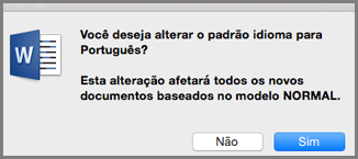 Idioma padrão do Office para Mac