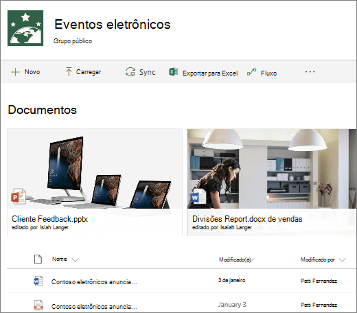 Biblioteca de documentos do SharePoint