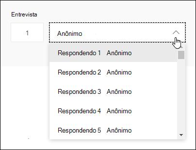 Exibir uma lista suspensa de respondentes no Microsoft Forms