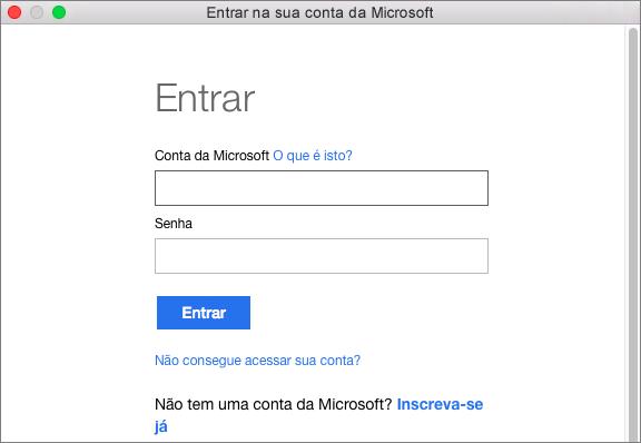 Insira as credenciais da conta da Microsoft para acessar os serviços associados à essa conta.