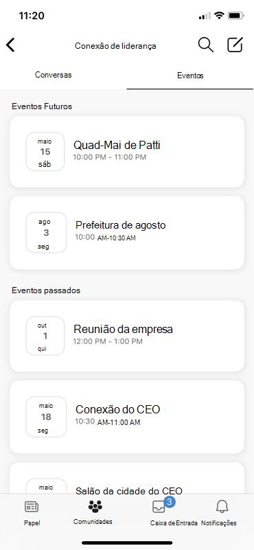 Captura de tela mostrando a descoberta de eventos do LIEE em dispositivos móveis