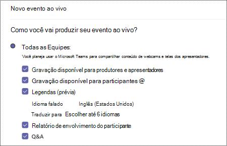 Caixa de diálogo para selecionar a opção QA para Teams ao agendar um evento.