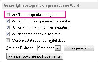 A opção Verificar ortografia ao digitar