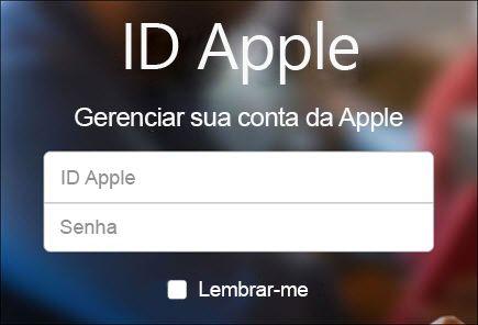 Entrar com o nome de usuário e a senha do iCloud