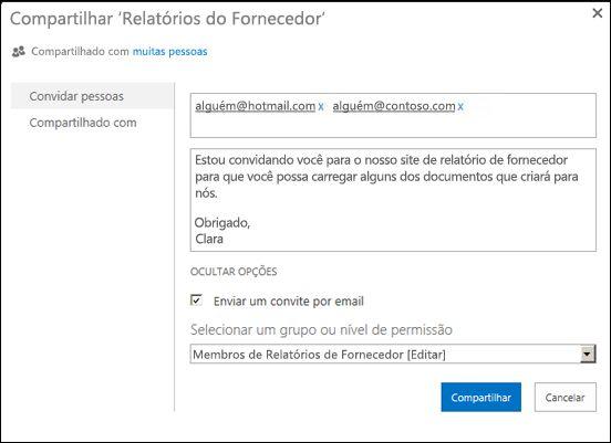 Imagem da caixa de diálogo Compartilhar para um site preenchida com nomes de usuário para usuários externos.