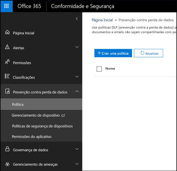 Página de prevenção contra perda de dados no Centro de Conformidade e Segurança do Office 365