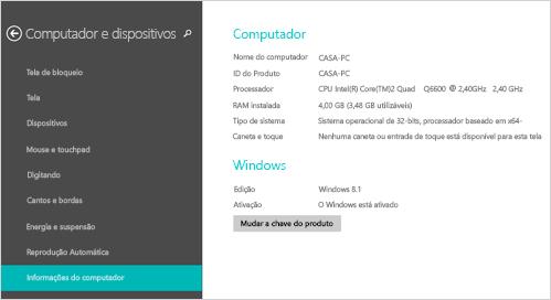 Página de informações do computador em configurações do computador
