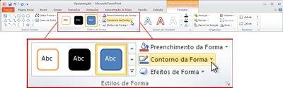 Em Ferramentas de Desenho, a guia Formatar na Faixa de Opções do PowerPoint 2010.