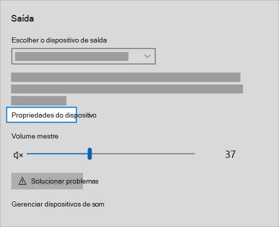 link de propriedades do dispositivo de saída de som no menu de som