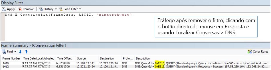 Um rastreamento filtrado por Localizar Conversas e, em seguida, por DNS.