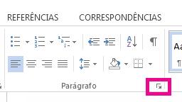 Você pode abrir a caixa de diálogo Parágrafo clicando no ícone de Expandir.