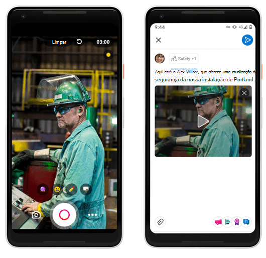 Criando vídeos curtos para o Yammer na plataforma móvel Android