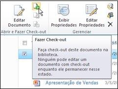 """Faixa de opções do SharePoint com """"Check-out"""" selecionado"""