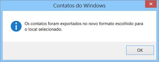 Você verá uma mensagem final informando que os seus contatos foram exportados para um arquivo .csv.