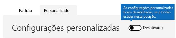 Esta captura de tela mostra as configurações personalizadas da política de filtros antispam desativadas.