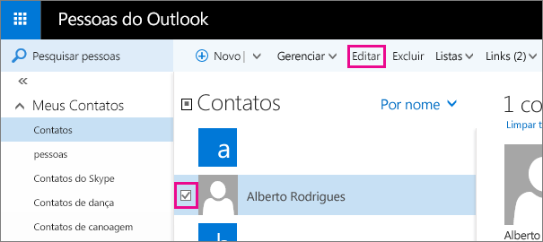 Captura de tela da parte da página pessoas do Outlook. Na captura de tela, a caixa de seleção ao lado do nome de um contato está selecionada e não há um balão para o comando Editar na barra de ferramentas.