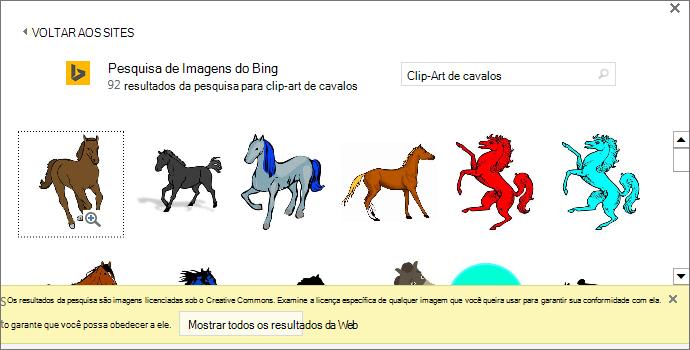 """A pesquisa por """"clip-art de cavalo"""" oferece uma variedade de imagens sob uma licença do Creative Commons."""