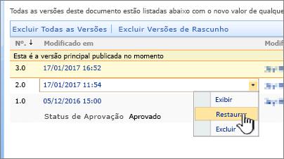 Controle de versão na lista suspensa arquivo com restauração realçado